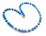 Blue Agate And Sterling Silver Gilt Necklace.